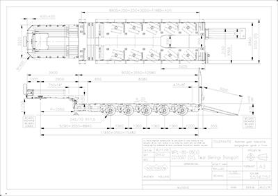 5 assige pendel-X semi-dieplader met vaste laadkleppen tekening